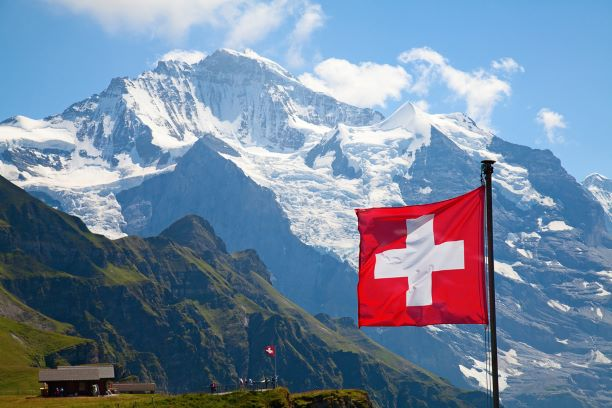 Image of mountains and Swiss flag