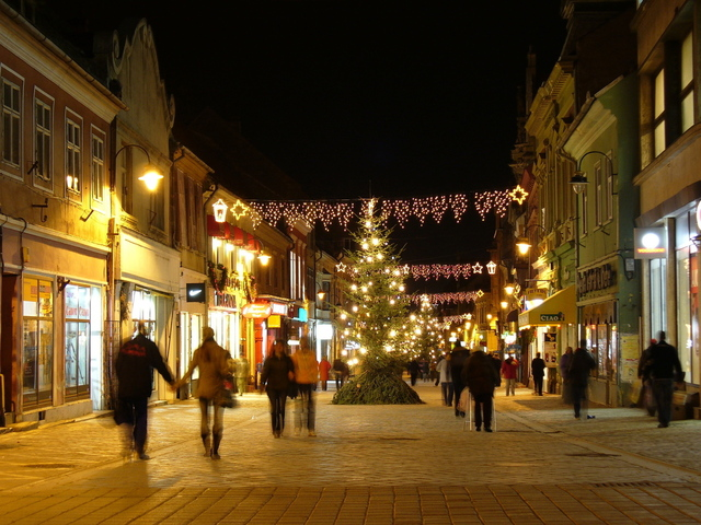 Christmas lights in a high street