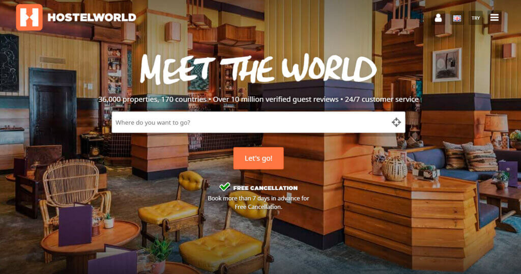 Hostelworld front page